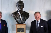 Pictured left to right are the late Mr JCB's sons, Mark Bamford and Lord Bamford and his grandson Jo Bamford (Lord Bamford's son) at the unveiling of the bronze bust today