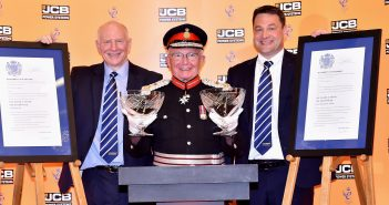 HM Lord Lieutenant of Derbyshire Mr William Tucker presents the Queen's Awards to JCB Power Systems Group Director of Engines Alan Tolley and Engine Sales Manager Robert Payne