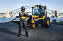The JCB GT, now officially the fastest digger on earth, takes a bow in front of the iconic Sydney Harbour Bridge with driver Matthew 'The Dig' Lucas  after achieving the record.