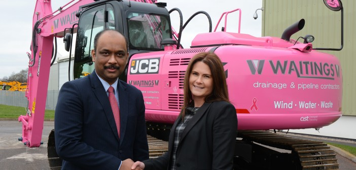 CUSTOMER TICKLED PINK BY JCB'S COLOURFUL FUNDRAISING MACHINE