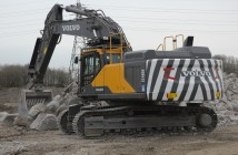 The new EC480E with full demolition specification and striking black and white chevrons is at home tackling crushed concrete